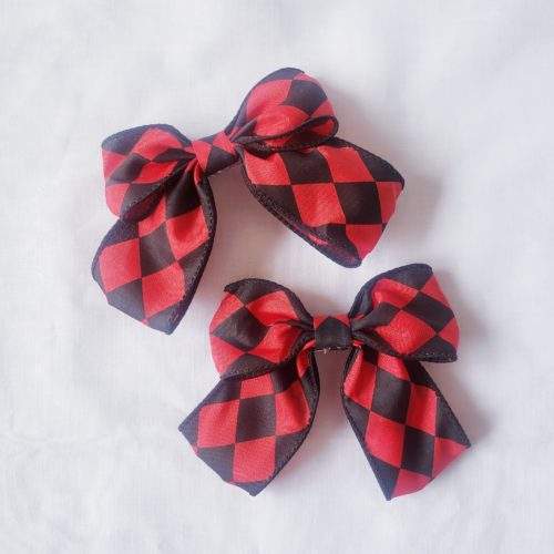 Red checker bow hair clip
